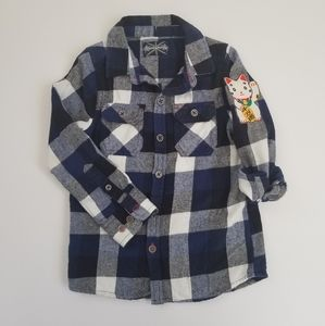 😺Toddler Lucky Cat Plaid Flannel, 2T